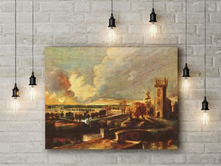 Peter Paul Ruben: Landscape with the Tower of Castle Steen. Fine Art Canvas.